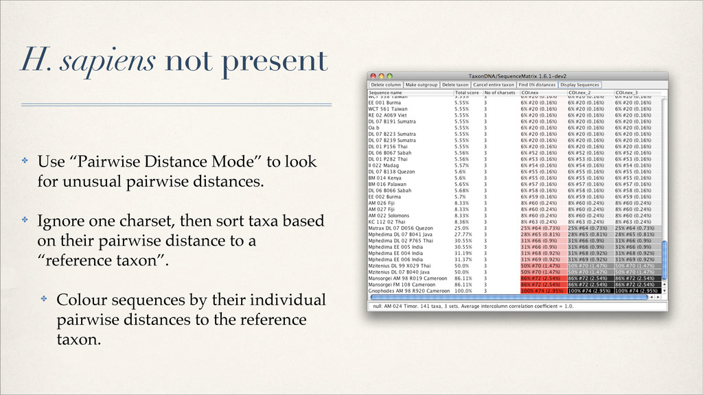 """H. sapiens not present ✤ Use """"Pairwise Distance..."""