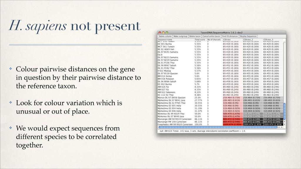 H. sapiens not present ✤ Colour pairwise distan...