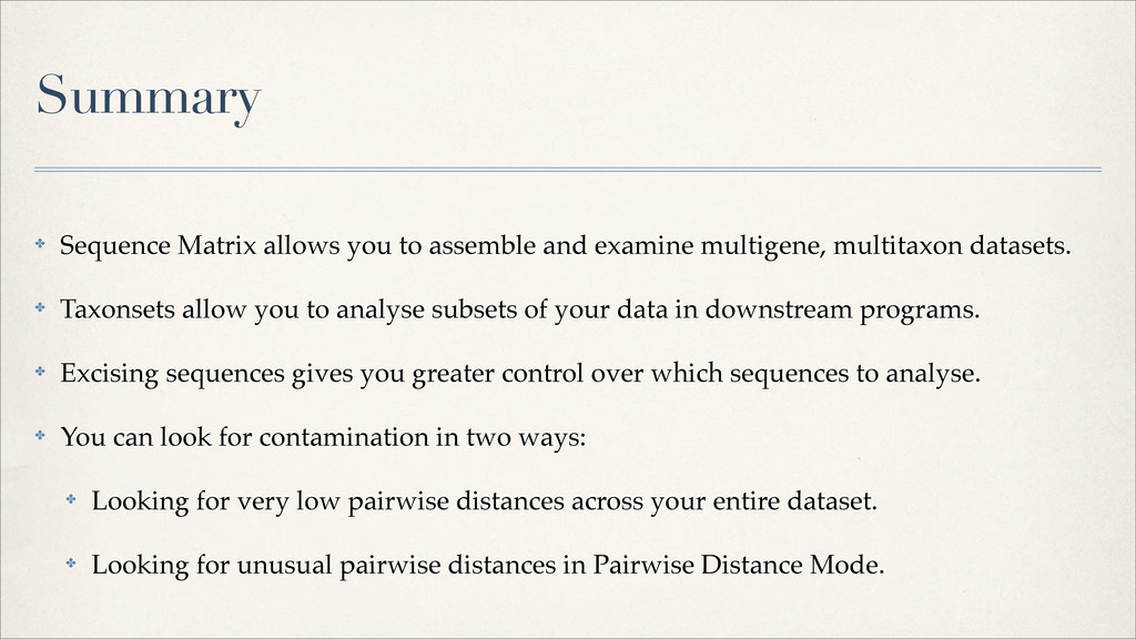 ✤ Sequence Matrix allows you to assemble and ex...