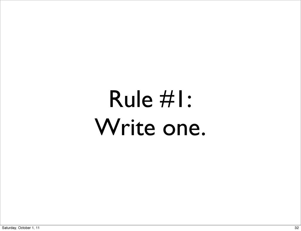 Rule #1: Write one. 32 Saturday, October 1, 11