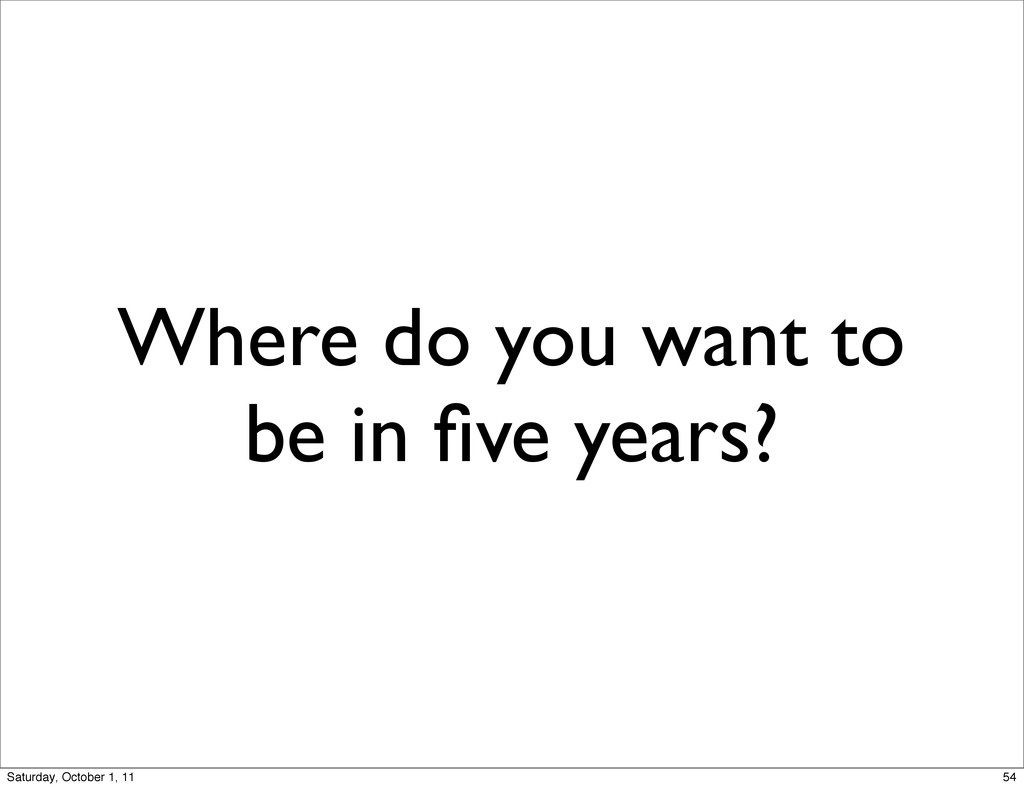 Where do you want to be in five years? 54 Saturd...