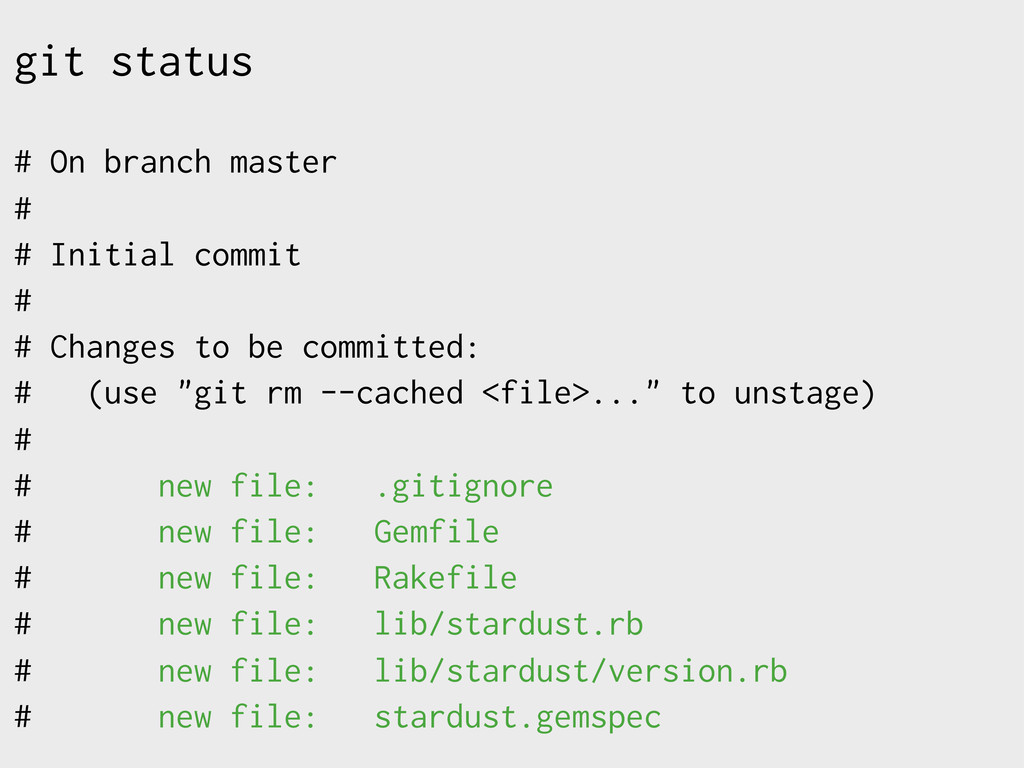 git status # On branch master # # Initial commi...