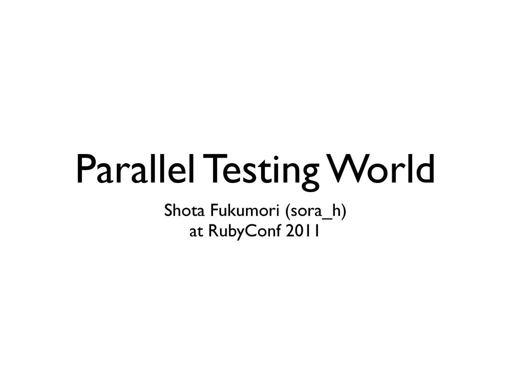 Parallel Testing World Shota Fukumori (sora_h) ...