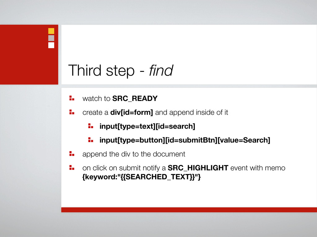 Third step - find watch to SRC_READY create a di...