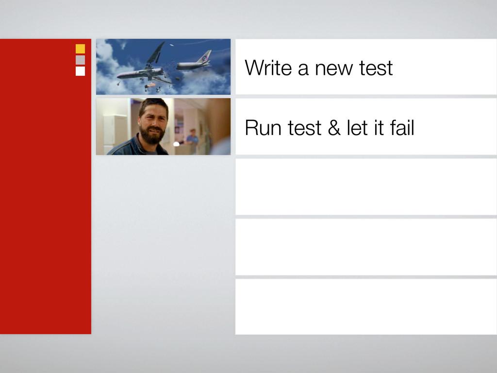 Write a new test Run test & let it fail