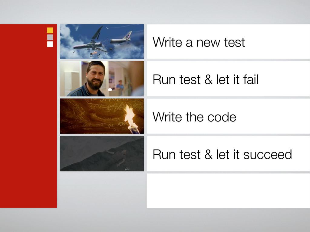 Write a new test Run test & let it fail Write t...