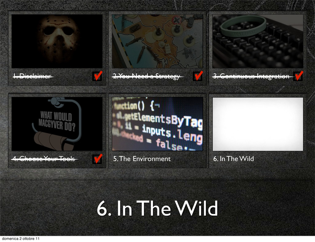 6. In The Wild 1. Disclaimer 2. You Need a Stra...