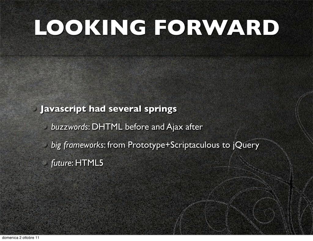 Javascript had several springs buzzwords: DHTML...