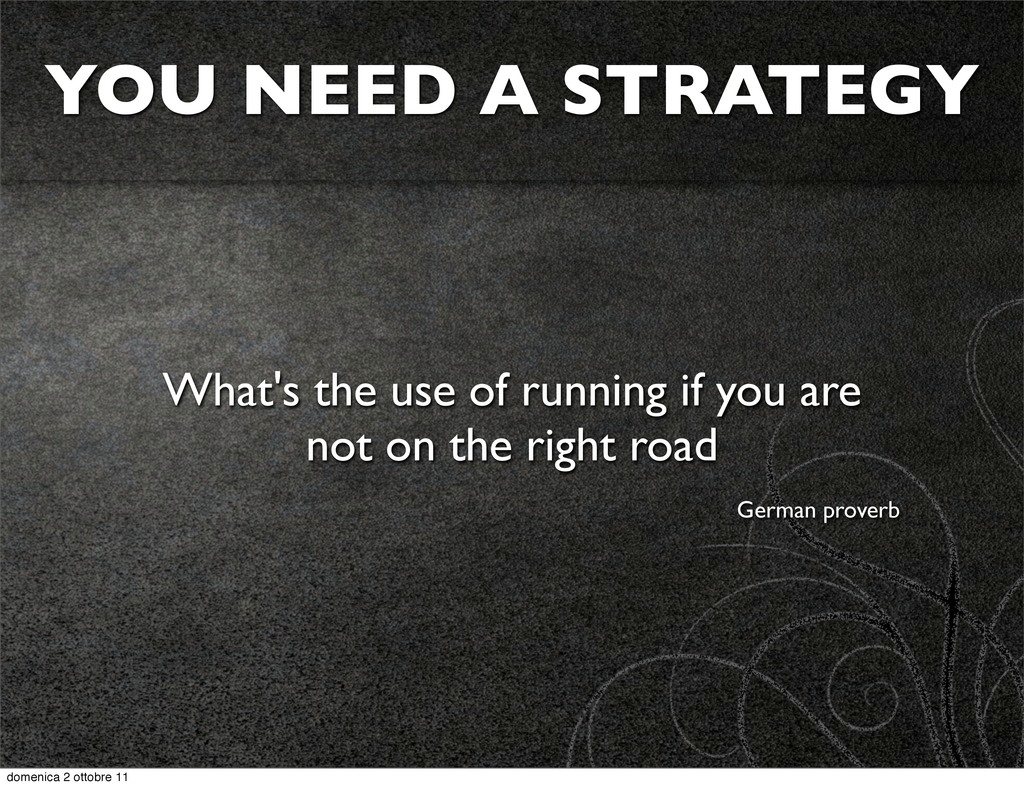 YOU NEED A STRATEGY What's the use of running i...