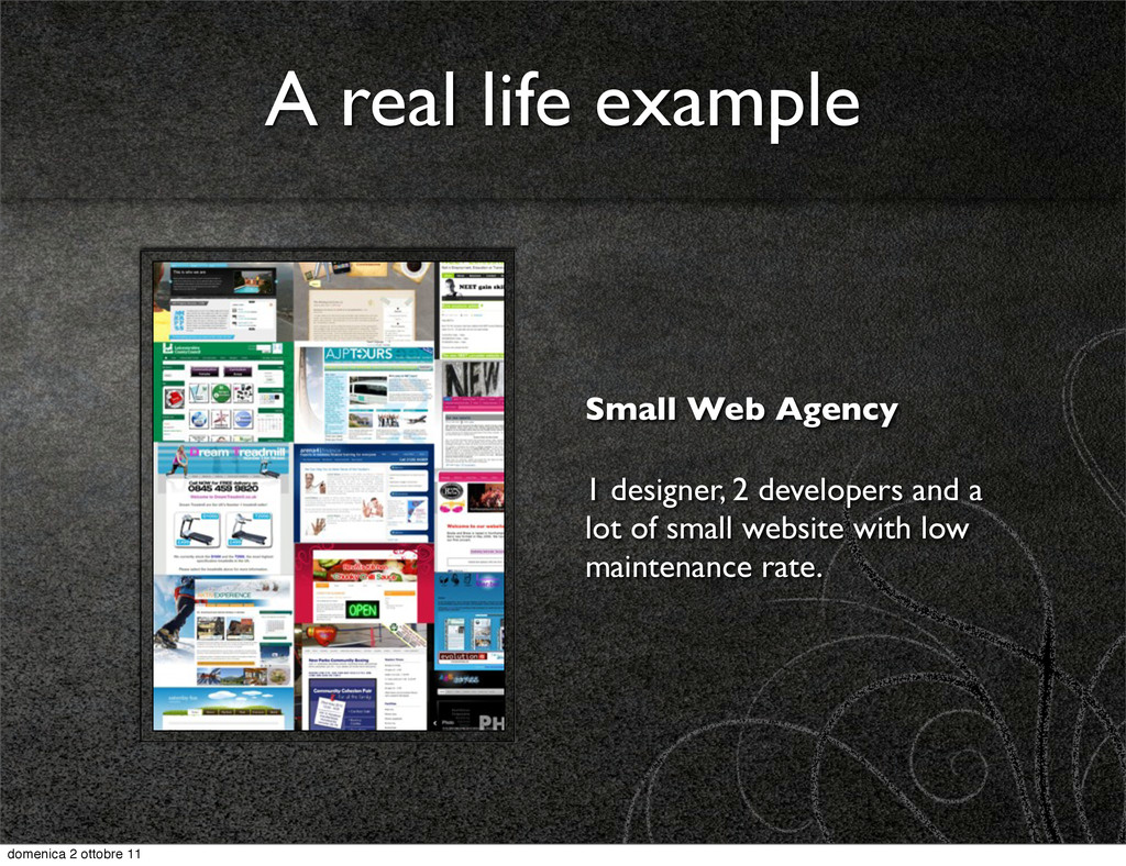 A real life example Small Web Agency 1 designer...