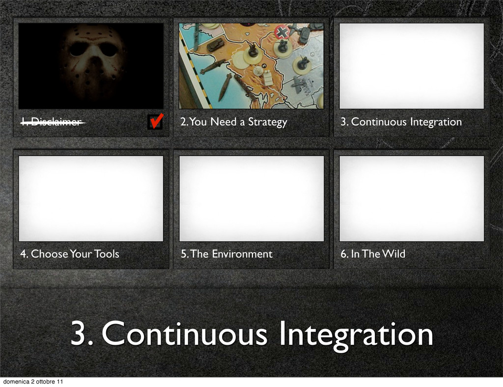 1. Disclaimer 3. Continuous Integration 2. You ...