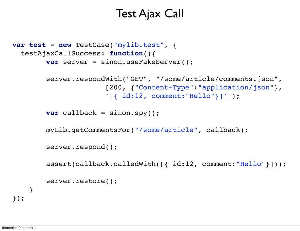 "Test Ajax Call var test = new TestCase(""mylib.t..."