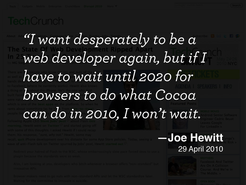 """""""I want desperately to be a web developer again..."""