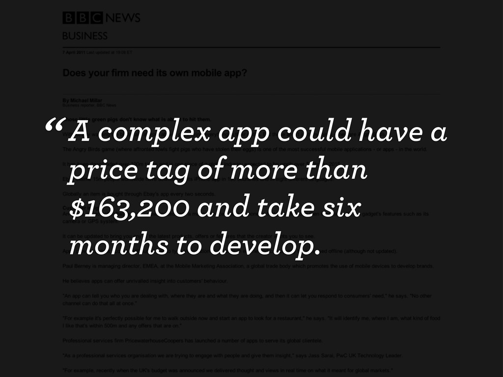 """""""A complex app could have a price tag of more t..."""