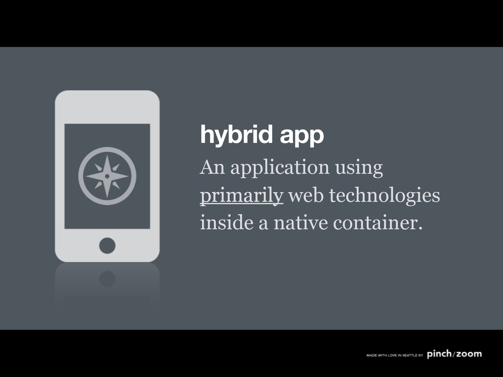 hybrid app An application using primarily web t...