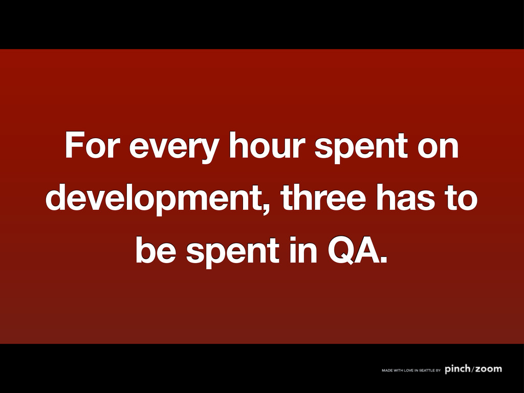 For every hour spent on development, three has ...