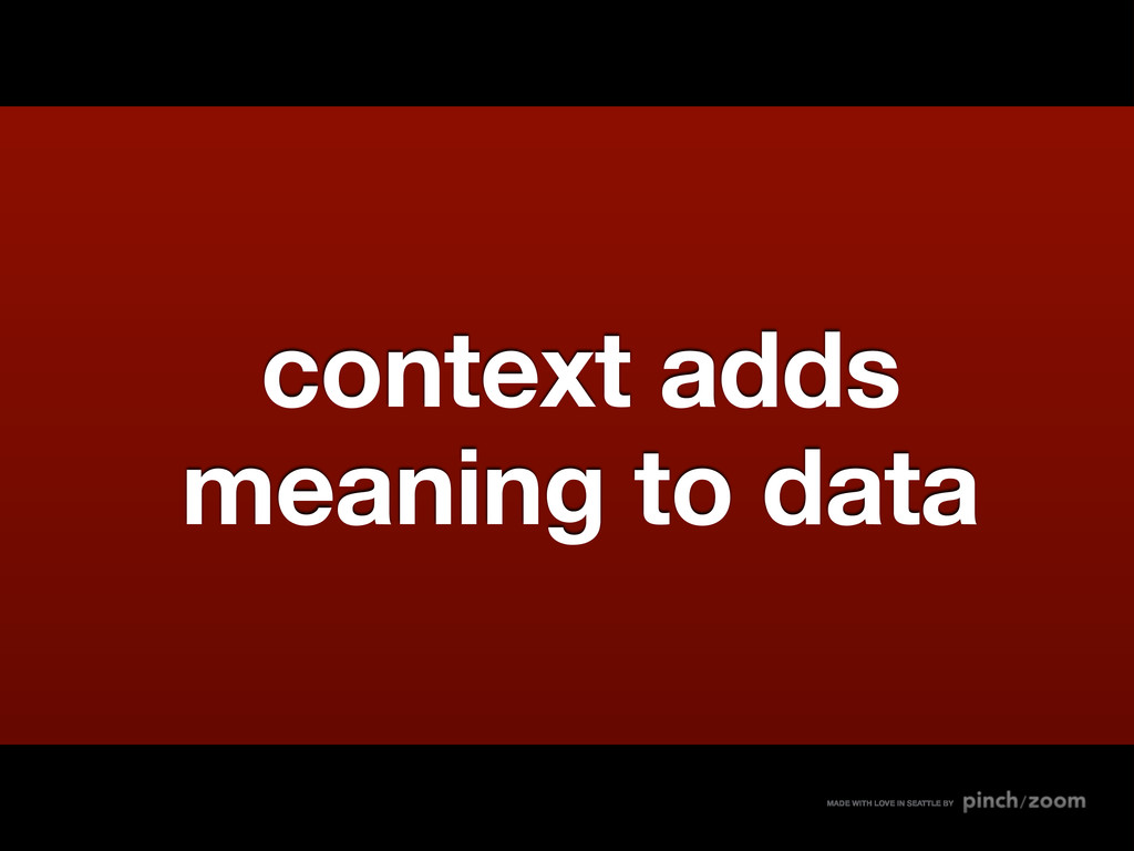 context adds meaning to data MADE WITH LOVE IN ...