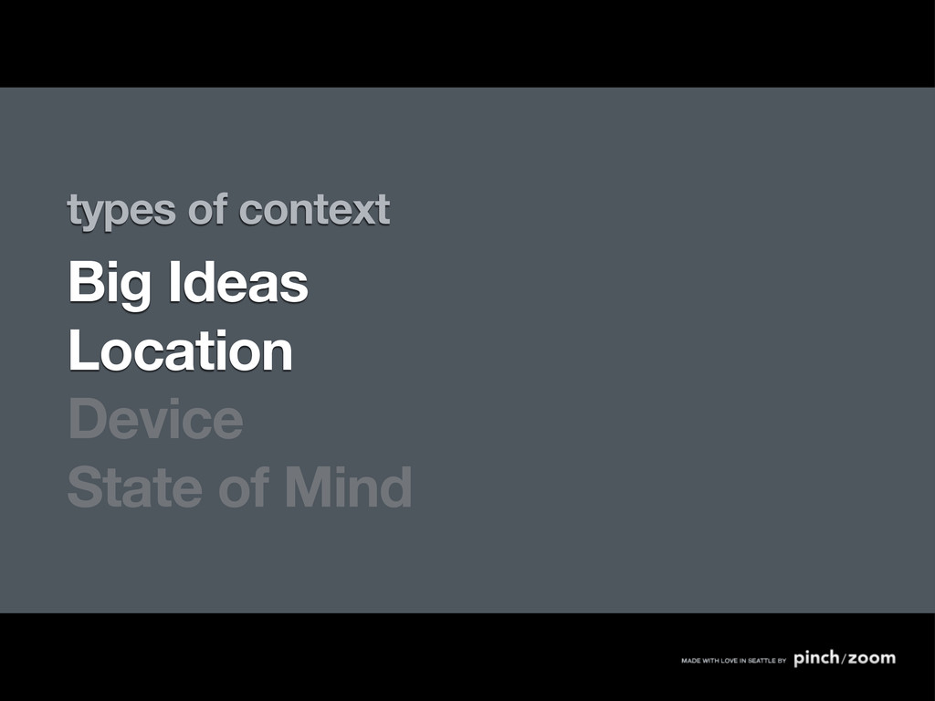 types of context Big Ideas Location Device Stat...