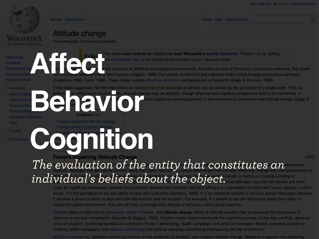 Affect Behavior Cognition The evaluation of the...