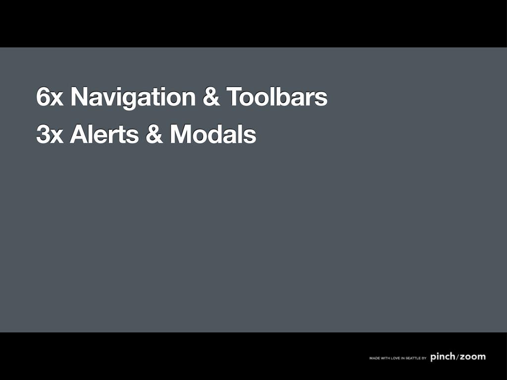 6x Navigation & Toolbars 3x Alerts & Modals