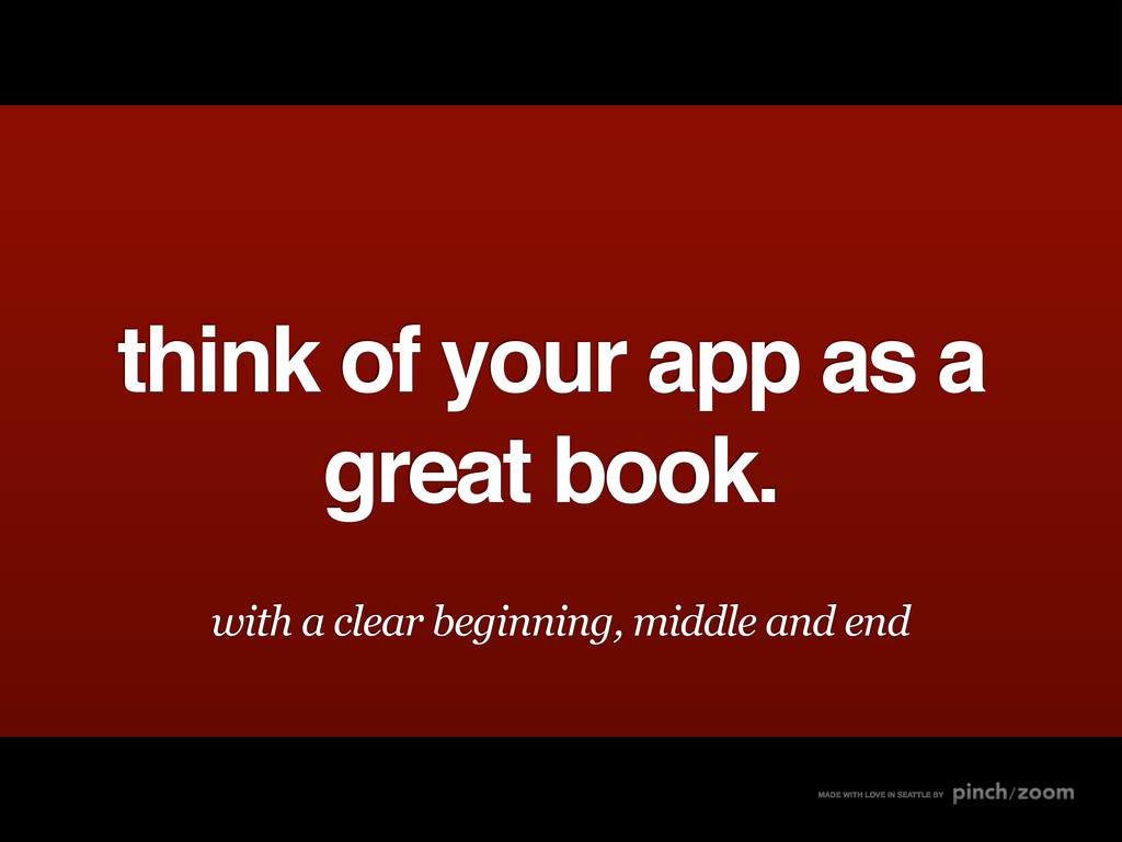 think of your app as a great book. MADE WITH LO...