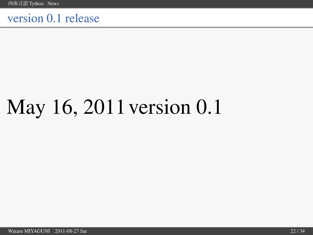 ମݴޠ Tython | News version 0.1 release May 16, ...
