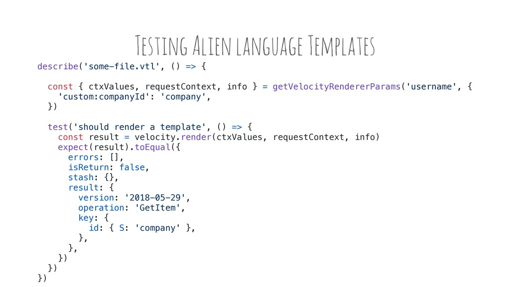 Testing Alien language Templates describe('some...