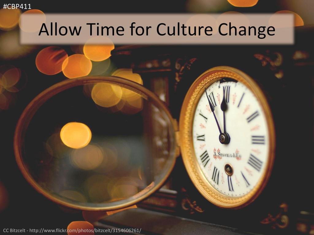 Allow Time for Culture Change #CBP411 CC Bitzce...