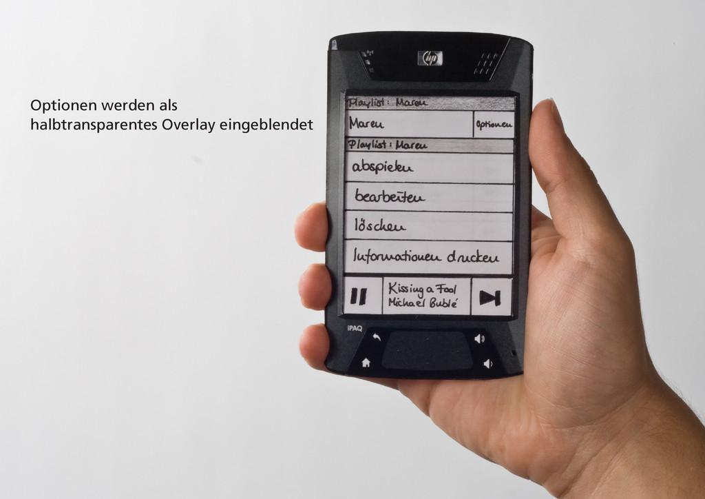 Optionen werden als halbtransparentes Overlay e...