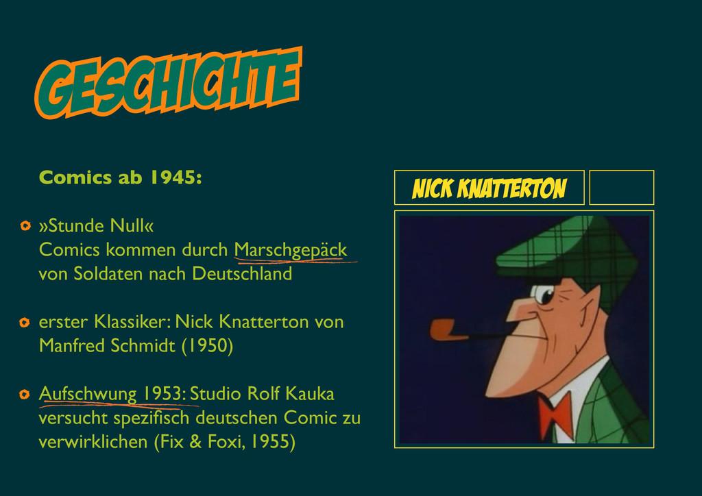 Geschichte NICK KNatterton Comics ab 1945: »Stu...