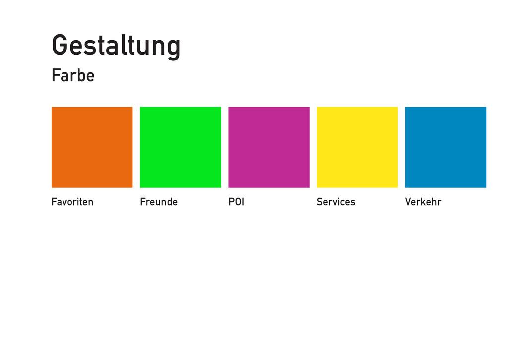 Gestaltung Farbe Favoriten Freunde POI Services...