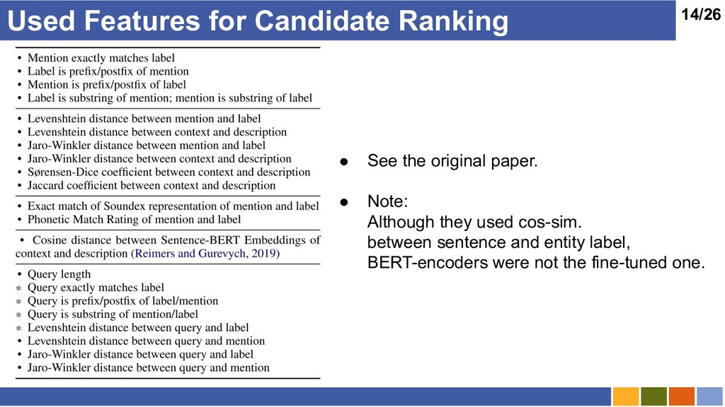 14/26 Used Features for Candidate Ranking ● See...