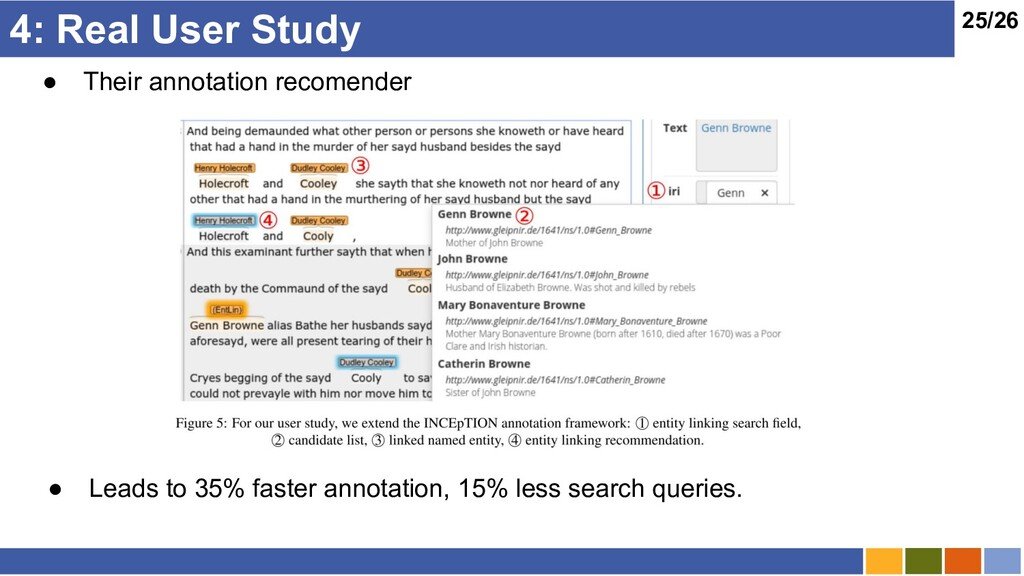 25/26 4: Real User Study ● Their annotation rec...