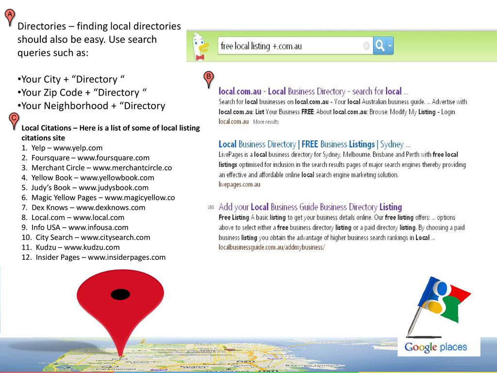 Directories – finding local directories should ...