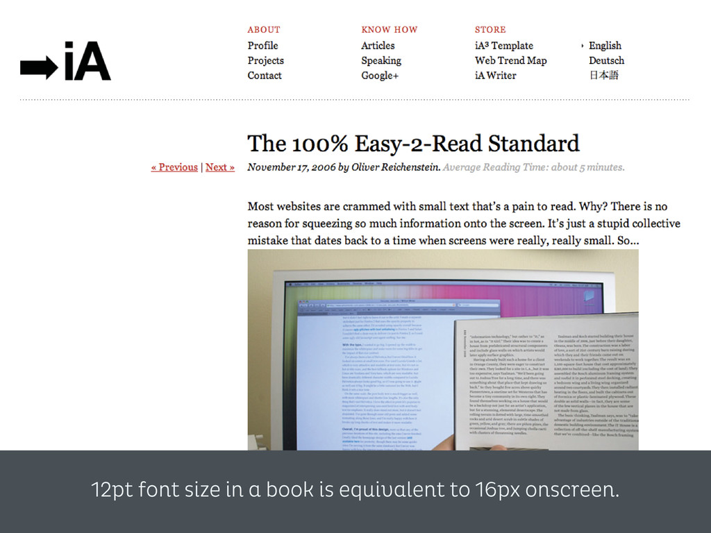 12pt font size in a book is equivalent to 16px ...