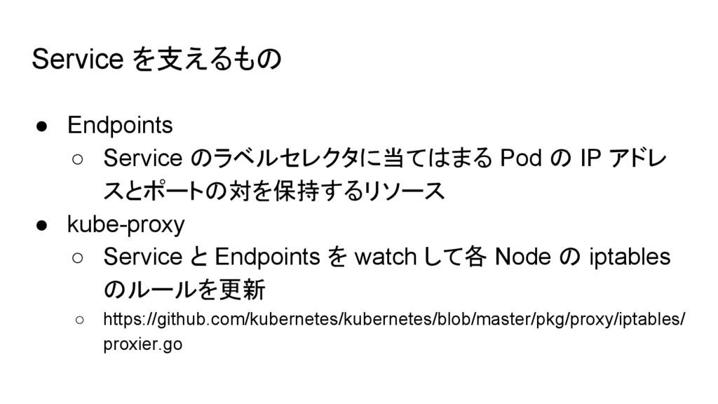 Service を支えるもの ● Endpoints ○ Service のラベルセレクタに当...