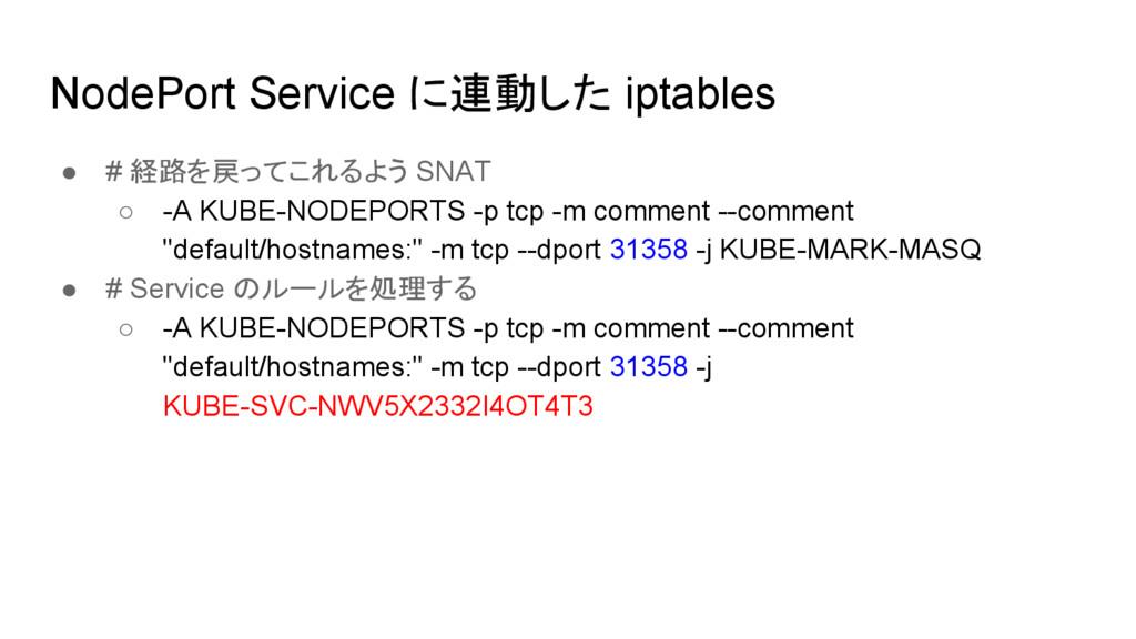 NodePort Service に連動した iptables ● # 経路を戻ってこれるよう...