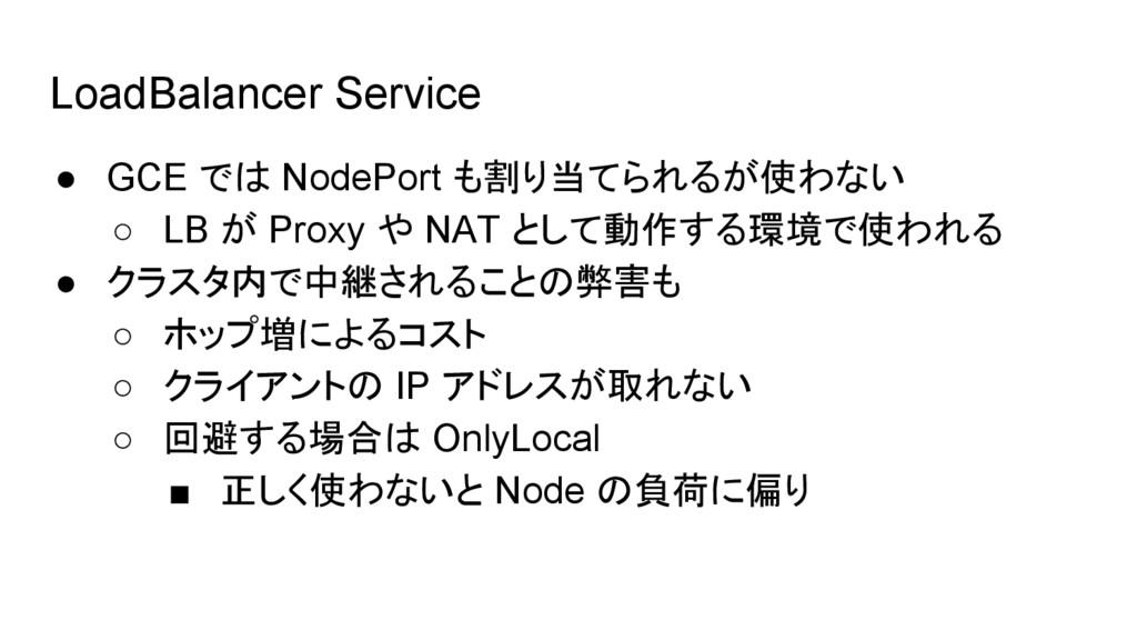 LoadBalancer Service ● GCE では NodePort も割り当てられる...