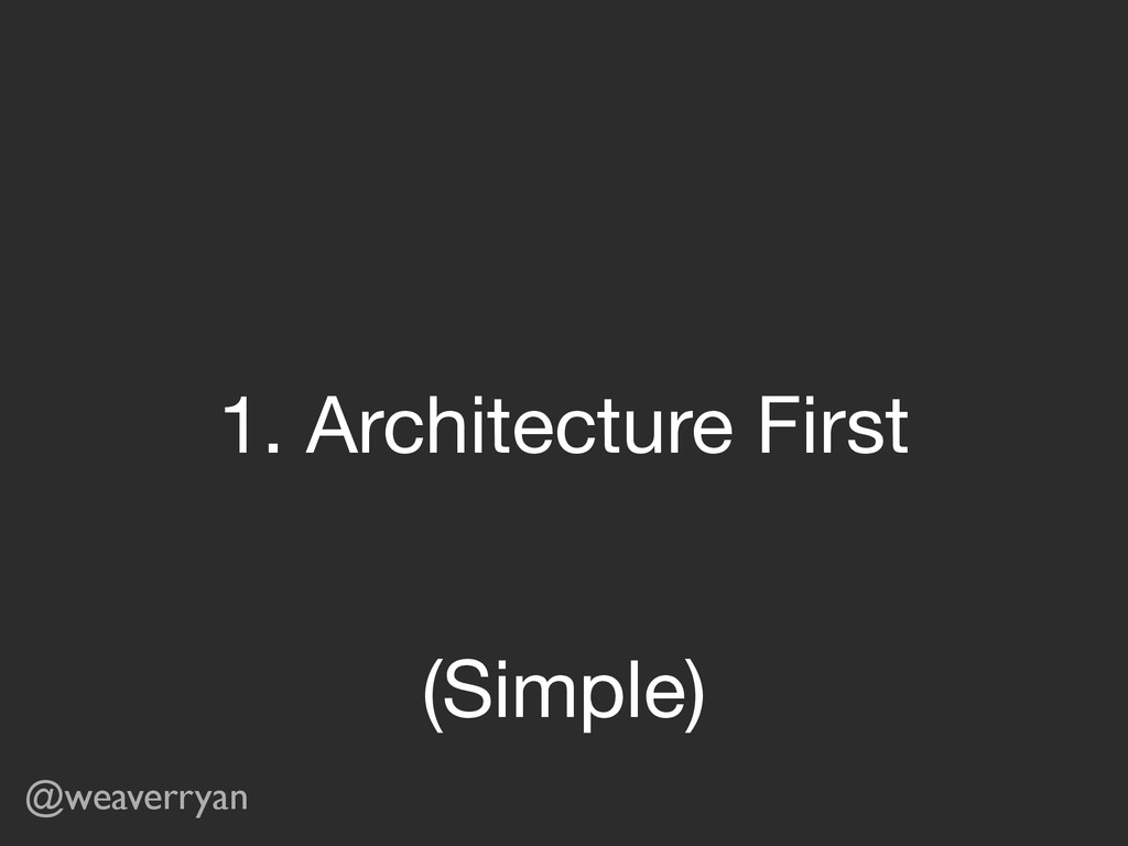 1. Architecture First (Simple) @weaverryan