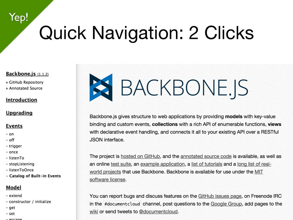 Quick Navigation: 2 Clicks @weaverryan Yep!