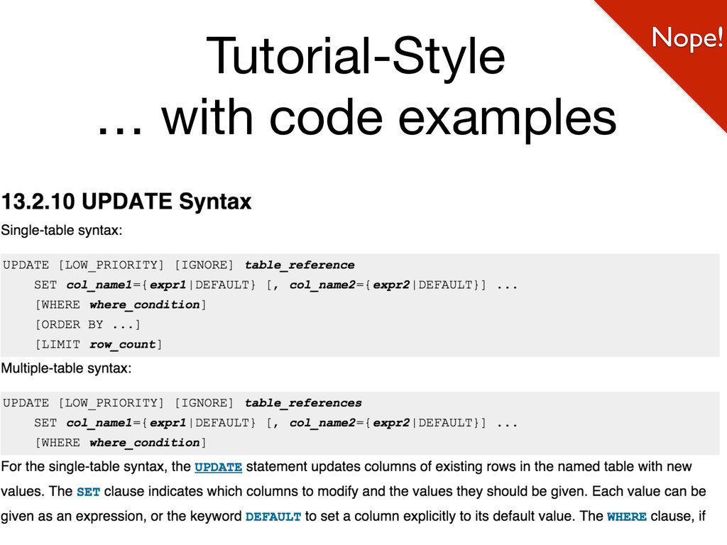 @weaverryan Tutorial-Style  … with code example...