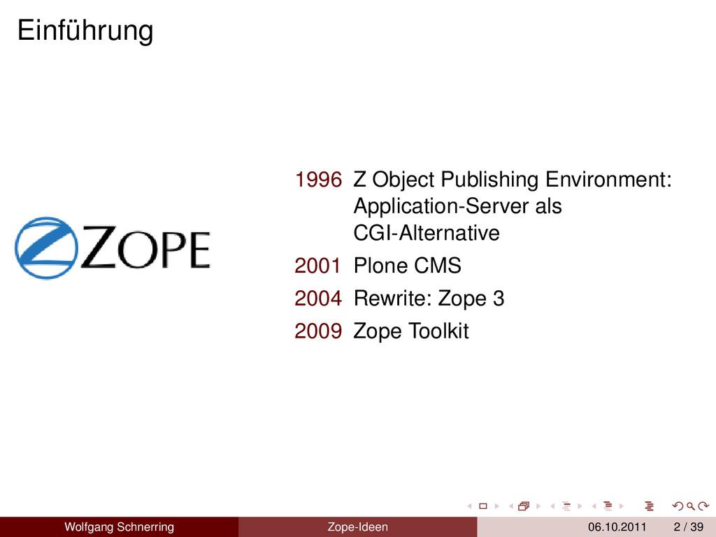 Einführung 1996 Z Object Publishing Environment...