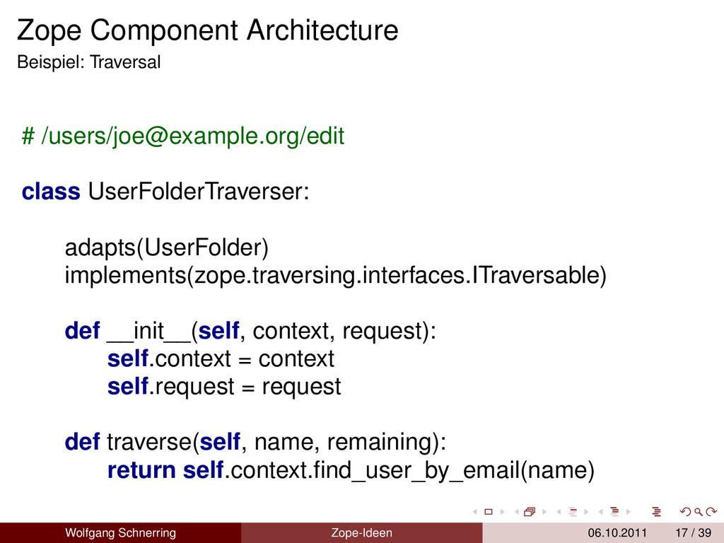 Zope Component Architecture Beispiel: Traversal...