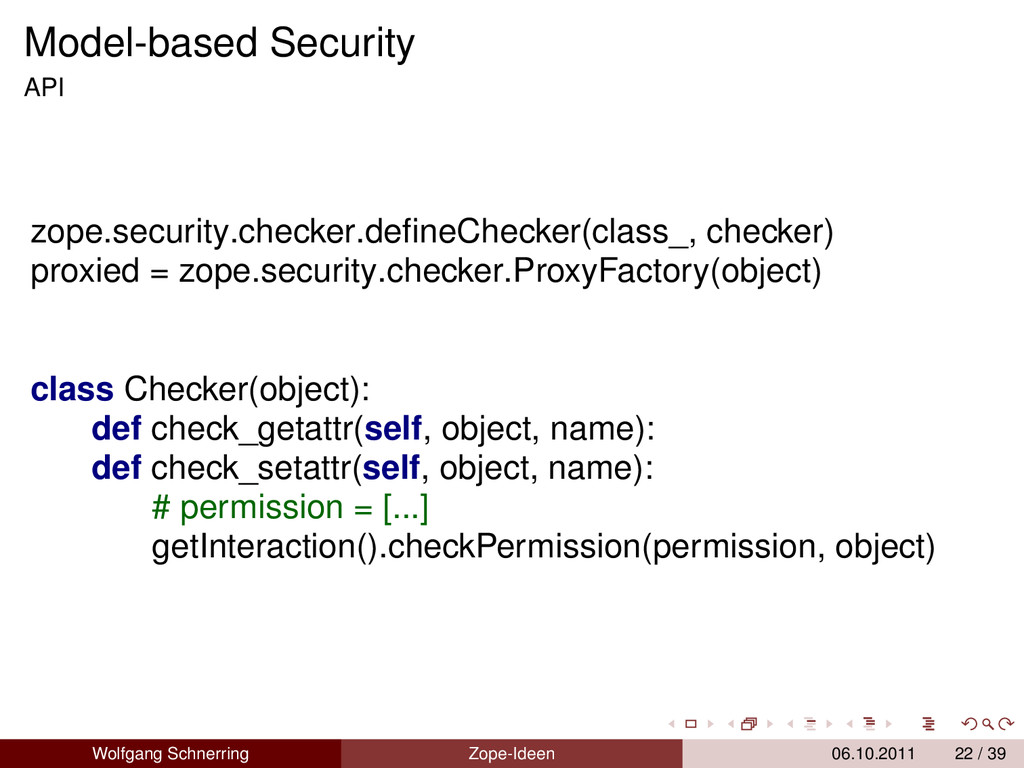 Model-based Security API zope.security.checker....