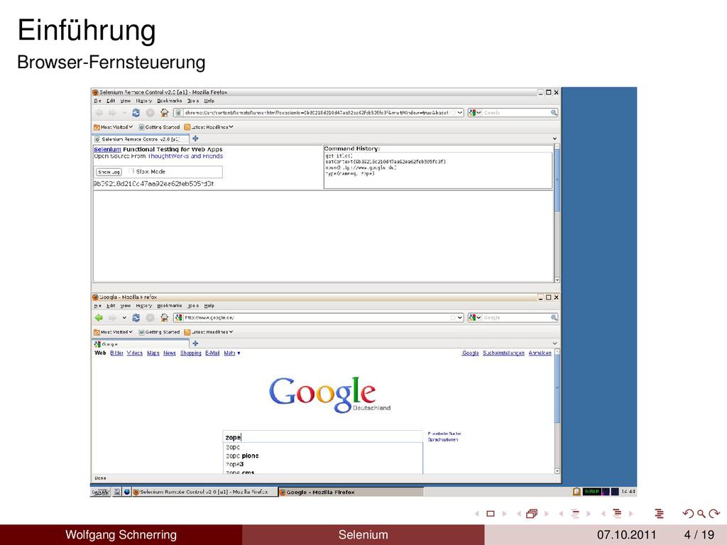 Einführung Browser-Fernsteuerung Wolfgang Schne...