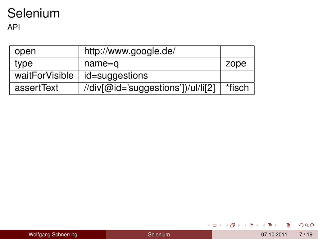 Selenium API open http://www.google.de/ type na...