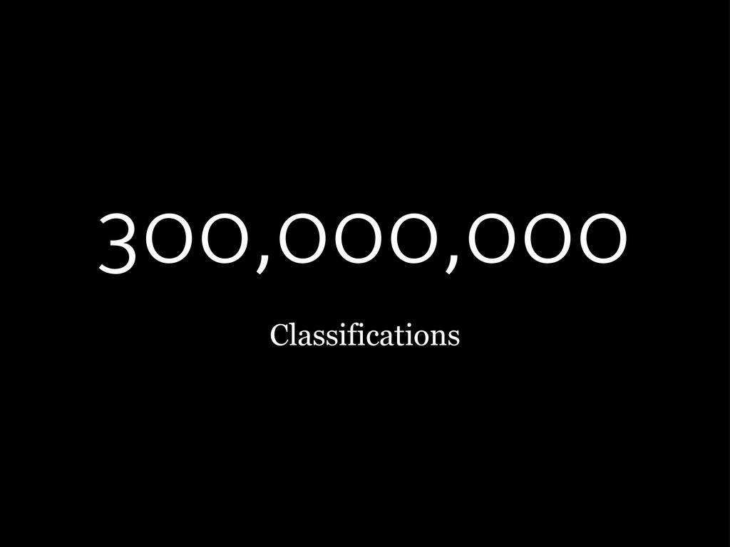 300,000,000 Classifications