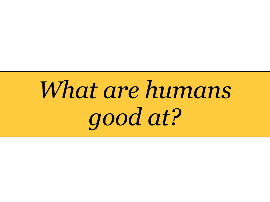 What are humans good at?