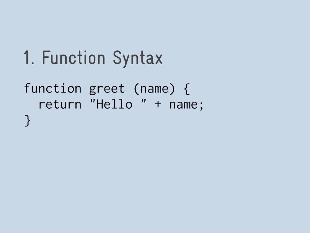 1. Function Syntax function greet (name) { retu...