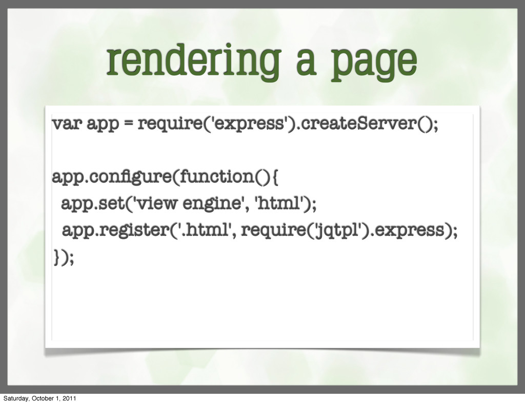rendering a page var app = require('express').c...